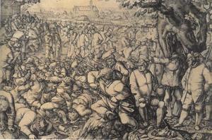 Kermis met vechtende mannen,  de stad Danzig in de achtergrond