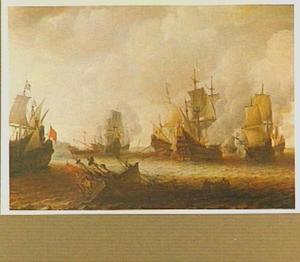 Zeeslag met in de voorgrond een zinkend schip