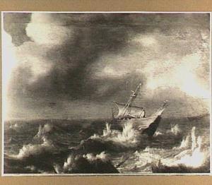 Schip op stormachtige zee
