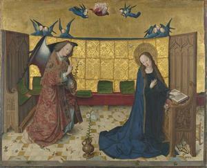 Het leven van Maria: de Annunciatie (onderste helft van de Kruisiging van Christus)
