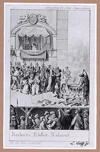 Toneelscène: een oude, gevangengenome kluizenaar zegent het volk in aanwzigheid van een vorst in een loge