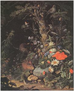 Bosstilleven met bloemen, dieren en insecten