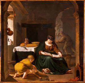 De heilige familie thuis in Betlehem