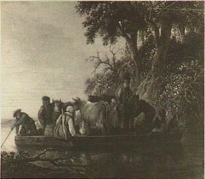 Reizigers en vee op een veerpont