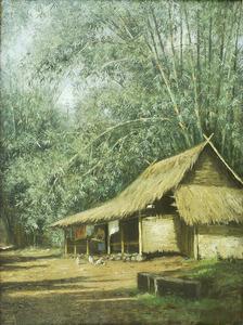 Kampunghuis met rijstwassende vrouw, Java