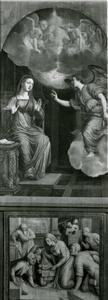 De annunciatie met reliëf van de geboorte van Christus