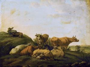 Herder en vee rustend in een weide