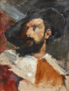 Studie van een man in 17-de eeuws kostuum