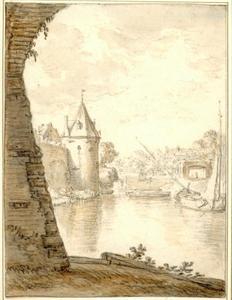 Utrecht, waltoren De Bok gezien vanaf het Begijnebolwerk