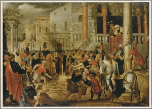 De bewonersvan Efeze brengen hun toverboeken bijeen na hun bekering door Paulus en verbranden ze (Handelingen 19:19)