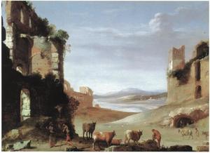 Romeins landschap met ruïnes (capriccio)