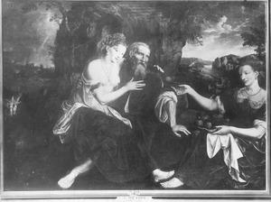 Lot wordt door zijn dochters dronken gemaakt (Genesis 19:33)