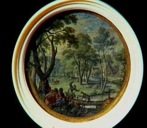 Landschap met voorstelling uit de fabel van een hond die met een stuk gestolen vlees naar zijn spiegelbeeld kijkt. Denkende dat hij een groter stuk ziet laat hij het zijne in het water vallen (Aesopus)