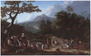 Berglandschap met een oosterse karavaan bij de Ponte Acquoria bij Tivoli