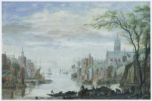 Stad aan rvier met haven