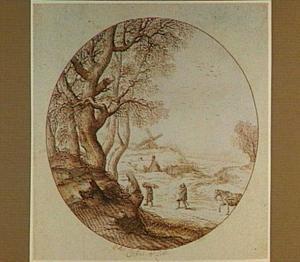 Winterlandschap met sprokkelaars en een molen