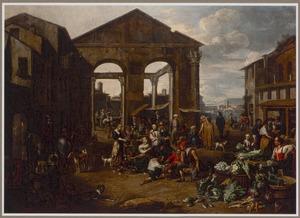 Gezicht op een marktplein met een ruïne van een Romeinse tempel en een haven in de achtergrond