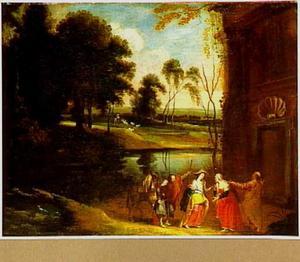Rivierlandschap; op de voorgrond Maria bezoekt Elisabeth
