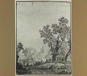 Landschap met monument en kerkruïne