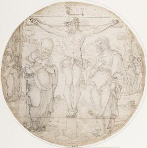 De kruisiging met de maagd Maria en Sint Johannes de Evangalist (Matteus 27: 33-44, Lucas 23: 32-43, Marcus 15: 22-32, Johannes 19: 17-30) (verso)