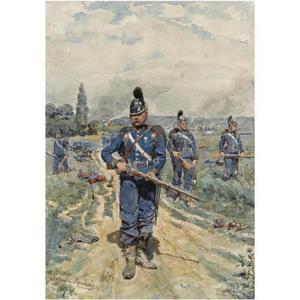 De Beierse infanterie tegen de Franse artillerie in de maand augustus ter hoogte van Woerth (Bas-Rhin, Elzas)