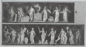 Allegorisch voorstellingen: Verbond tussen Kunsten en Wetenschappen (boven) en Vrede geflankeerd door Voorzienigheid en Matigheid (onder)