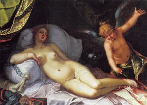 De slapende Psyche door Amor bespied en gewekt