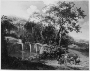 Zuidelijk landschap met reizigers bij de Ponte Acquoria bij Tivoli