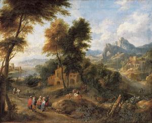 Berglandschap met boeren op een landweg, in de verte een kasteel