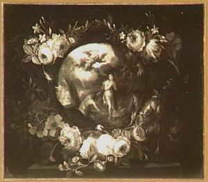 De verdrijving uit het Paradijs  omringd door een krans van bloemen (Genesis 3:23-24)