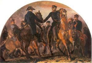 Blücher ontmoet Wellington na de slag van Waterloo