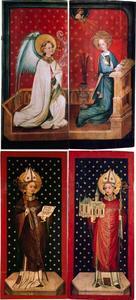 Twee kastdeuren met de annunciatie (binnenzijden); de H. Anno en de H. Agilolfus (buitenzijden)