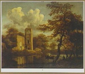 Bebost rivierlandschap met de ruïne van kasteel Egmond te Egmond aan den Hoef
