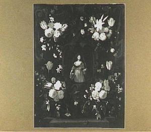 Cartouche versierd met bloemen in de hoeken rond een afbeelding van de heilige Agnes