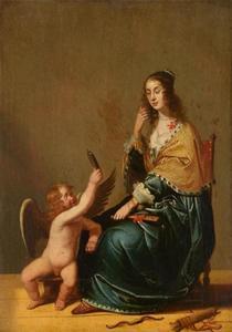Jonge vrouw die in de spiegel kijkt, haar aangereikt door een putto (de vijf zintuigen: het Gezicht)