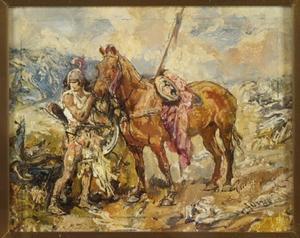 Krijgsman met zijn paard aan de teugel