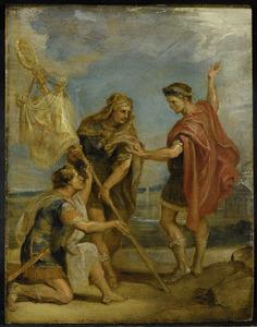 Keizer Constantijn neemt het labarum, het vaandel met het Christusmonogram IHS, aan als de keizerlijke standaard