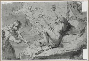 Danaë ontvangt Jupiter in de gedaante van een regen van goud (Ovidius, Mtemorfosen 4:611)