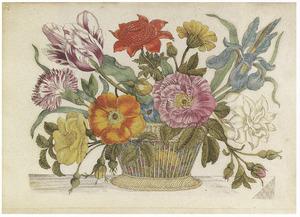 Bloemen in een rieten mand