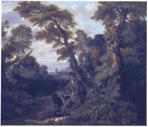 Een jager met zijn hond, zittend in een landschap
