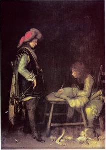 Soldaat die een brief schrijft, met een bode
