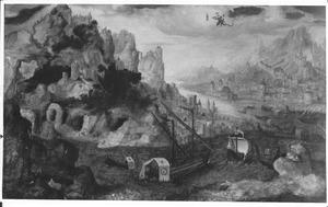 Weids zeegezicht met het visioen van Johannes op Patmos