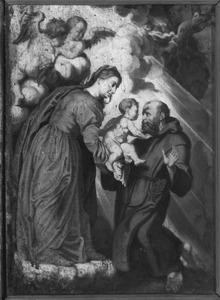 Franciscus van Assisi ontvangt het Christuskind uit handen van Maria