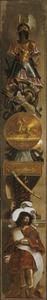 Heraut met zegeteken, medaillon en cartouche met afbeeldingen van de overwinning van Frederik Hendrik bij Den Bosch (1629) en Grol (1627)
