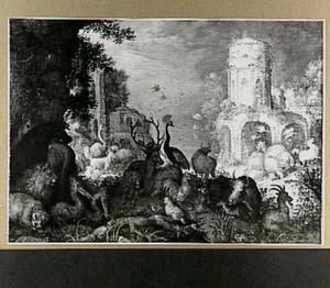 Landschap met dieren; op de achtergrond Orpheus aangevallen door de Menaden