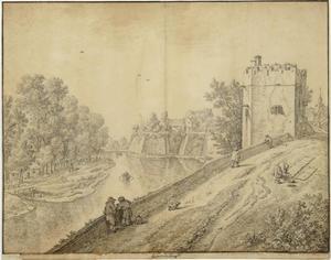 Gezicht vanaf de Utrechtse stadswal naar bastion Manenburg en de Servaastoren