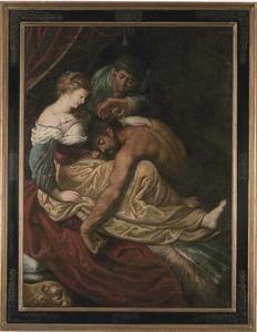 Simson slaapt in Delila's schoot (Rechters 16: 16-19)