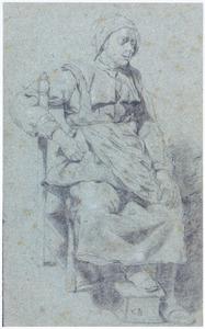 Zittende oude vrouw op een stoel