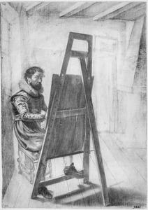 Een schilder aan zijn ezel, in interieur
