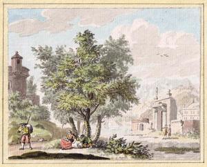 Italianiserend landschap met landhuis en figuren